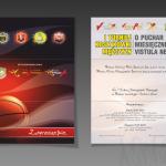 """Projekt i wydruk zaproszeń z okazji """"I Turnieju Koszykówki Mężczyzn o Puchar miesięcznika Vistula News"""""""