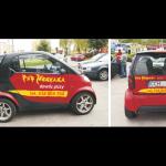 Projekt i wykonanie reklamy na samochodzie dla pizzerii Montana Pub